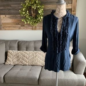 Anthropologie One September Ruffled Jersey Top
